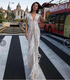 Apple Sleeves Australia - Evening dress Yousef aljasmi Labourjoisie Zuhair murad James_paul5 Column V-Neck Short Sleeve White Tulle Feather Sequin Illusion Long Dress