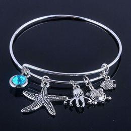 $enCountryForm.capitalKeyWord Australia - ashion Jewelry Bangles New design Adjustable Expandable Wire bracelets bangles diameter 65mm silver plated sea life and blue birthday sto...