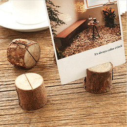 photo place card holders UK - Tree stump craft place card holder Rustic style seat folder photo clip Wedding natural wooden decorate Cylindrical and semicircle style