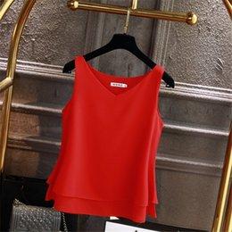 Venta al por mayor de 2019 marca de moda blusa de las mujeres sin mangas de verano camisa de gasa sólido con cuello en v blusa ocasional más el tamaño 4xl mujer floja superior