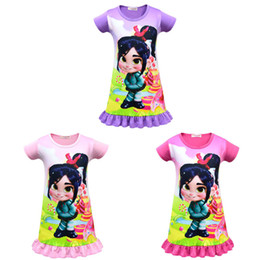 girls baby night dress UK - 3 Color Baby girl Ralph Breaks the Internet dress 2019 New kids Cartoon pattern princess pattern Short sleeve night dress clothes C