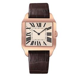 2019 Rose Gold Novos homens relógio Gentalmen luxo relógios mulheres moda relógio de pulso de couro marrom quadrado dial Feminino Relogio Montre relógio masculino