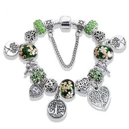 Color Charms Australia - Gree Tree of Life Charm Pandora Bracelet Silver Color Heat Flower Beads Bracelets Bangles Fashion Jewelry Gife