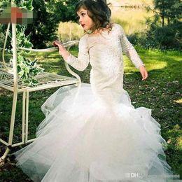$enCountryForm.capitalKeyWord NZ - Toddler Flower Girls Dresses Half Sleeves Jewel Neck Lace Applique Princess Pageant Gowns Kids Prom Dress Custom