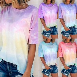 black white tie dye shirts NZ - Summer Sexy Women Tie Dye T-shirt Fashion Print Short Sleeve T-shirt O-neck Gradient Color Tee Female Streetwear Plus Size