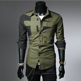 Wholesale hot western style clothing for sale – custom NEW style color patchwork yong men s shirts M XL Western fashion man slim fit novelty full sleeve casual boy clothes hot sale