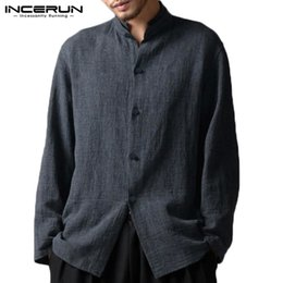 $enCountryForm.capitalKeyWord Australia - INCERUN Chinese Style Men Shirt Vintage Button Men Tang Suit Camisa 2019Cotton Long Sleeve Loose Stand Collar Casual Shirt