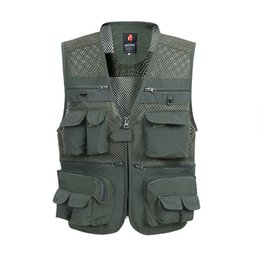 polyester vest pockets for men Canada - Summer Mesh Vest For Men Spring Autumn Male Casual Thin Breathable Multi Pocket Waistcoat Mens Baggy 5XL Vest With Many Pockets