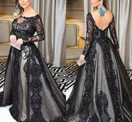 Sheer Shirt Open Back Australia - Black Lace Beaded Formal Evening Dresses Detachable Train Illusion Long Sleeve Sheer Neckline V Open Back Dresses Evening Wear Party Dress