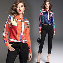 b95254f2a9703d Luxury siLk bLouses online shopping - 2019 Spring Fall Luxury Fashion  Piping Printed Collar Women s