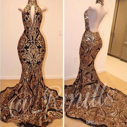 MerMaid hands online shopping - Fabulous Sleeveless Mermaid Collar Backless Prom Dresses Gold Lace Applique Formal Gowns Evening Party Dresses BC1179