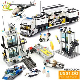 $enCountryForm.capitalKeyWord Australia - 536pcs Police Station Prison Trucks Building Blocks compatible legoing Boat Helicopter policeman City Bricks Toys For Children SH190907