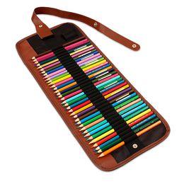 Pencil roll online shopping - 36 Holes Pencil Case School Canvas Roll Pouch Makeup Comestic Brush Pen Storage pecncil box