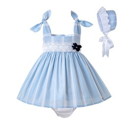 striped girl flower dress Canada - Pettigirl Summer Toddler Lace Baby Girl Blue Outfit + PP Pants +Bonnet With Flower Baby Wedding Dress Children Clothes G-DMCS203-C182