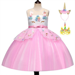 $enCountryForm.capitalKeyWord Australia - Carnival Unicorn Rainbow Dresses For Baby Girl Costume Kid Prom Back TO School Frock Children Bridesmaid Disguise Ceremony Wedding Dress