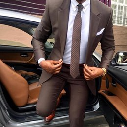 Mens beige suit sliM fit online shopping - 2019 Handsome Two Pieces Groomsmen Suits Custom Made Modest Peaked Lapel Slim Fit Business Mens Suits Jacket Pants