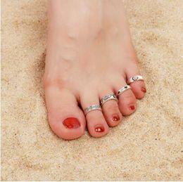 $enCountryForm.capitalKeyWord Australia - 8Pcs Set Adjustable Knuckle Foot Rings New Boho Flowers Carved Heart Open Toe Ring Set Vintage Women Gifts Beach Jewelry