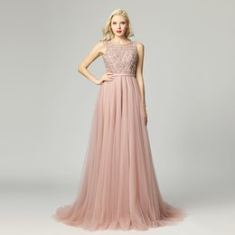 Blush pink sequin evening dresses online shopping - 2019 Robe De Soiree Gatsby Vintage Luxury crystal blush pink A Line Evening Dresses yousef aljasmi sheer Neck with cape arabic dress