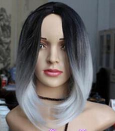 $enCountryForm.capitalKeyWord Australia - FREE SHIPPING ++ Ladies women short Wig Ombre Tone Color Black Light Grey mix Straight Cosplay Grey heat resistant synthetic fibers