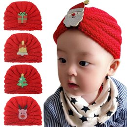 santa girl crochet baby Australia - Baby Knitted wool Christmas deer snowman Hats Santa Claus Crochet Caps Autumn Winter warm Infant Kids Boys Girls India Beanie cap 10 colors