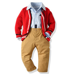 $enCountryForm.capitalKeyWord Australia - Boy Clothes Sets Children Kids Clothing Autumn Winter 3-piece Sets Knit cardigans + shirts + Suits Fall Cotton Baby Boys Clothes