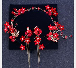 $enCountryForm.capitalKeyWord NZ - Wedding dress, headdress, hairband, earrings, a set of red flowers, handmade hairdress
