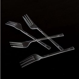 $enCountryForm.capitalKeyWord NZ - 500pcs grade PS disposable plastic fork fruit fork cake transparent long thickening creative shaped three-tooth