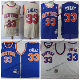 dd1548bd4 Vintage Mens New York Patrick Ewing Knicks Blue White 1996 Classic Gold Basketball  Jerseys Cheap Patrick Ewing 33 Stitched Shirt S-XXL