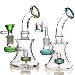 gear perc bong Australia - Mini Bongs Beaker Bong Matrix Perc Gear Percolator Glass Water Pipe Heady Dab Oil Rigs With quartz banger Hitman Hookahs
