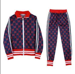 HigH end pant suits online shopping - Europe Fashion Brand print Tracksuit Suit Luxury Designer Women Sportswear jacket High end Easy Sweatshirt Jogging Pant pc Set