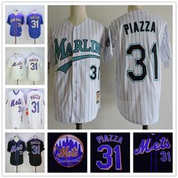 $enCountryForm.capitalKeyWord Australia - Vintage New York #31 Mike Piazza Mets Jersey Marlins Home Away Black White Stitched Baseball Jerseys