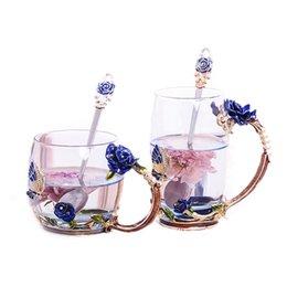Опт Изысканные старинные розы термостойкие эмалированные стеклянные кружки, цветочный чайный сервиз кофейная чашка, вода, молоко, кофе, эспрессо, посуда для подарка
