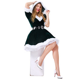 christmas costumes adult women NZ - New Christmas Sexy Dress Women Christmas Green elf Costume For Adult green Velvet Fur Dresses Hooded Female Santa Claus Costume