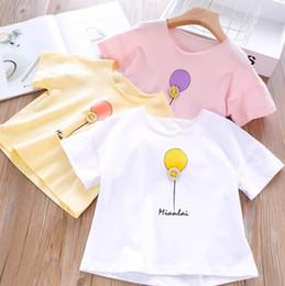 Short Balloon Tops Australia - Kids T-shirt girls letter balloon printed casual tops children buttle round collar short sleeve Tees 2019 summer new boy clothes F6821