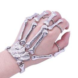 skeleton bone hand bracelet 2019 - Gothic Punk Skull Finger Bracelets For Women Nightclub Skeleton Bone Hand Finger Flexible Bracelets Bangles Halloween Gi