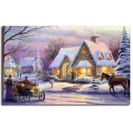 $enCountryForm.capitalKeyWord NZ - Thomas Kinkade Snow Field Night Poster Canvas Painting Oil Framed Wall Art Print Pictures For Living Room Modern Home Decoracion Framework