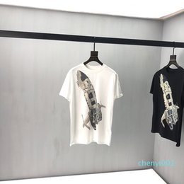plane t shirts UK - Spring Summer Europe Italy Fashion Casual Front Plane Spaceship Back triangle applique Tee Men designer t shirt Women Street Tshirt t01c01