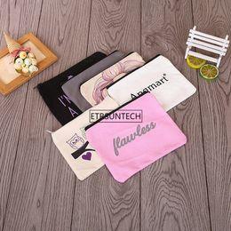$enCountryForm.capitalKeyWord Australia - New arrival blank canvas zipper Pencil cases pen pouches cotton cosmetic Bag makeup bag Mobile phone clutch bag custom logo