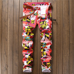 hipster man pants Australia - Red Blue Jeans Men Slim Fit Elastic Hipster Floral Printed Skinny Mens Jeans Brand Tights Denim Pencil Pants Jogger Male Trouser