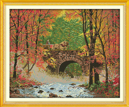 River Bridge Painting Australia - The bridge river of autumn decor painting ,Handmade Cross Stitch Embroidery Needlework sets counted print on canvas DMC 14CT  11CT