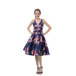 teen line dress Canada - MB038 Chic Spaghetti Straps Floral Prom Dress Cheap A-Line Mini Party Dresses for Teens Short Formal Dresses vestido de festa online