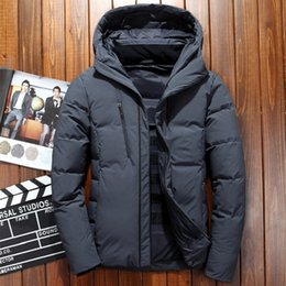 Discount windproof clothing - Hot Sale 2019 Winter Duck Down Jacket Men Waterproof Windproof Winter jacket Coat Solid Hooded Casual Outwear Clothing M