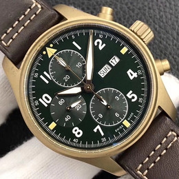 Genuine leather pilot online shopping - 41mm real bronze case automatic chronograph pilot men watch sapphire crystal waterproof wristwatch genuine Leather Strap date zf best