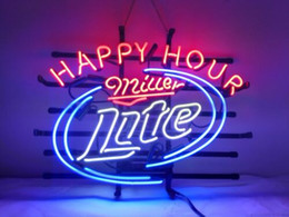 $enCountryForm.capitalKeyWord UK - New Star Neon Sign Factory 19X15 Inches Real Glass Neon Sign Light for Beer Bar Pub Garage Room Miller Lite Happy Hour.