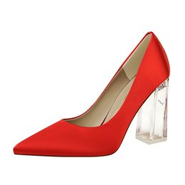 4b19cbb273c4 12Colors Lady Dress Shoes Stain Pointed Toe Transparent crystal Chunky Heel  Sexy Party Shoes Women Work Pumps Plus Size Shoes US4-US12 Eu43