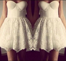 bee95d0895 Mini skater backless dress online shopping - Newest Design White Sweetheart  Strapless Short Lace Skater Dress