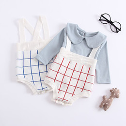 94122ba5eba7 2018 Fashion Autumn Baby Boys Clothes Striped Knitted Baby Rompers Overalls  Jumpsuits Boys Girls Plaid Kids Rompers Clothes