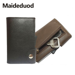 Metal Wallet Card Australia - 2019 NEW Fashion Cow leather Card Holder Case ID Metal Credit Card Holders With RFID Business Aluminum Wallet for Credit Card