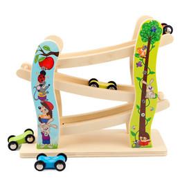 $enCountryForm.capitalKeyWord Australia - Child Glider Inertial Orbit Pulley With 3 Cars Wooden Track Building Blocks Baby Cartoon Juguetes Educativos Ladder Gliding Toys J190525