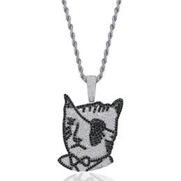 $enCountryForm.capitalKeyWord Australia - Luxury Designer Bling Diamond One-eyed Cat Pirate Pendant Chain Necklace Personalized White and Black CZ Cartoon Hip Hop Jewelry Wholesale